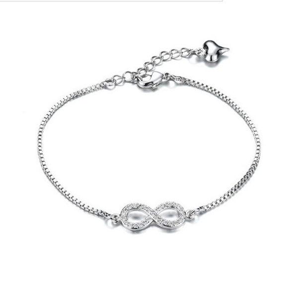 【5折超值價】 情人節禮物最新款時尚精美8字鑲鑽造型女款鍍白金手鍊