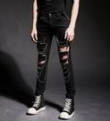 找到自己 韓國潮流 個性 大破洞 小鏈條 修身 街頭潮男 夜店 DJ 發型師 必備 牛仔褲 直筒褲 小腳褲