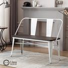 E-home Olga歐加工業風金屬木面高背長板凳-三色可選(長板凳白色