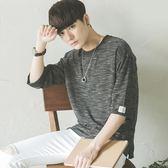 秋冬寬鬆中袖七分袖五分袖半袖短袖T恤韓版日系衣服學生潮流男裝