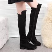 膝上靴長靴女秋冬歐美新款過膝長靴瘦腿彈力靴平跟長筒靴女絨面高筒單靴 童趣
