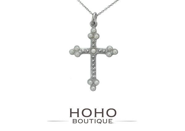 HOHOBOUTIQUE 手作925銀 珍珠十字架戒項鍊-銀色