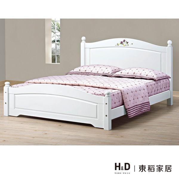 柏妮斯5尺白色彩繪檜木雙人床(18CS3/68-2) H&D 東稻家居