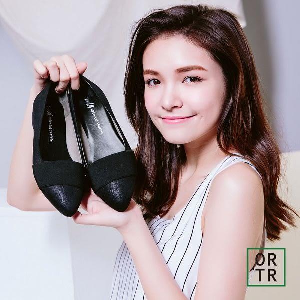 【ORiental TRaffic】彈性面帶舒適低跟鞋-黑色