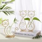 ins風金色鐵藝可愛動物造型水培玻璃花瓶擺件客廳創意插花裝飾品 莫妮卡