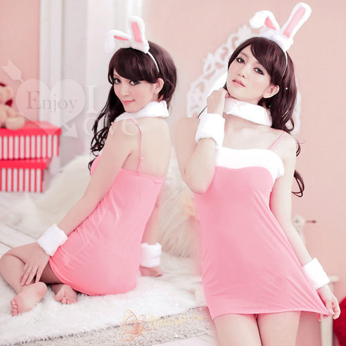 角色扮演兔女郎服 頑皮女郎!甜美兔女郎五件組﹝粉﹞ 情趣睡衣 兔子裝 女衣【530042】