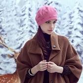 羊毛帽-韓版時尚S形水晶女針織帽73id29[時尚巴黎]