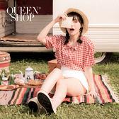 Queen Shop【01023437】小圓領格紋襯衫 兩色售*現+預*