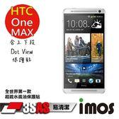 TWMSP★按讚送好禮★iMOS 宏達電 HTC One Max 3SAS 防潑水 防指紋 疏油疏水 上下段Dot View保護貼