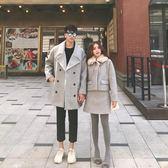 情侶裝 冬季新款情侶裝中長款毛領外套套裝女風衣半身裙兩件套