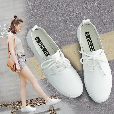 中大尺碼小白鞋 2019新款懶人鞋百搭夏秋季新款街拍帆布鞋韓版白鞋   SQ13472『美鞋公社』