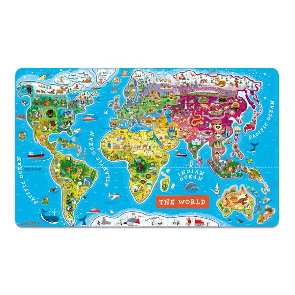 【法國Janod】磁性木質拼圖-世界地圖92pcs(有現貨)