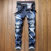 特惠 秋冬歐美新款男士緊身牛仔褲青少年休閑修身男式破洞貼布長褲