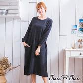 【Tiara Tiara】激安 淺格紋圓領縮袖口長洋裝(藍/墨黑)
