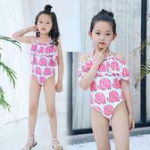 連體荷葉邊時尚寶寶小中童公主可愛學生女童游泳衣 qf401【旅行者】