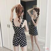 吊帶短褲春夏季時尚正韓新品女裝背帶波點露肩短褲減齡氣質連體褲(限時八八折)