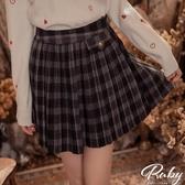 褲裙 學院風格紋百褶毛呢褲裙-Ruby s 露比午茶