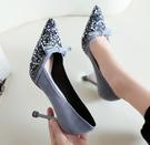 婚鞋-亮片綴飾蝶結絨面高跟鞋