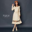 PUFII-洋裝 網紗針織長洋裝(附綁帶)-1205 現+預 冬【CP17688】