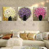 diy數字油畫三聯三拼風景花卉客廳大幅手繪