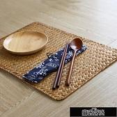 簡約手工編織餐墊桌墊隔熱墊草編茶墊創意【全館免運】