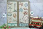 海邊沙灘貝殼麻布畫壁畫壁飾掛飾禮物-達可家居