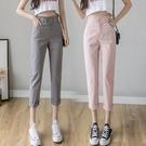 棉麻褲子女寬鬆夏季2021新款高腰亞麻直筒九分薄款顯瘦百搭休閒褲 果果輕時尚