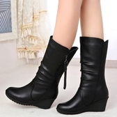 新款秋冬雪地靴女鞋馬丁靴女高跟中筒靴厚底楔形圓頭女靴短靴【快速出貨】