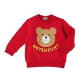 HOT BISCUITS 餅乾熊印圖長袖T恤(紅)