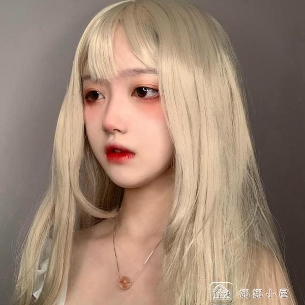 原宿洛麗塔空氣劉海假髮女長直髮街拍澄粉綠金色假毛個性頭套 交換禮物
