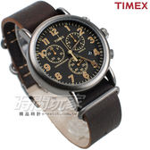 TIMEX 天美時 夜光顯示 三眼多功能計時碼錶 皮革錶帶 深咖啡色 男錶 TXT2P85400 學生錶 軍錶