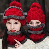 中大童加絨護耳帽子圍巾圍脖口罩冬季小學生兒童女童百搭保暖套裝