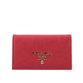 【PRADA】金屬浮雕logo防刮牛皮二折厚款名片卡夾(紅色) 1MC122 QWA F068Z