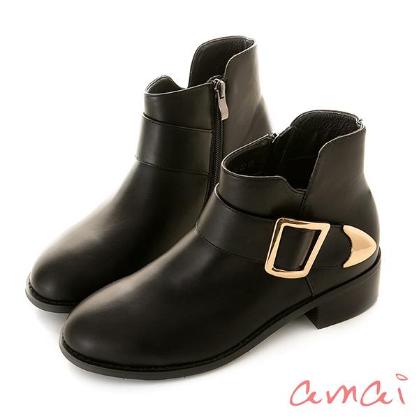 amai 歐美小V方釦短靴 黑