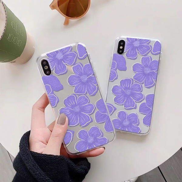 紫色花朵 適用 iPhone12Pro 11 Max Mini Xr X Xs 7 8 plus 蘋果手機殼 01