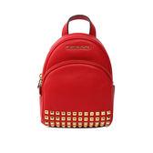 【MICHAEL KORS】素面皮革拼鉚釘後背包(迷你)(聖誕紅)35T7GAYB1L RED