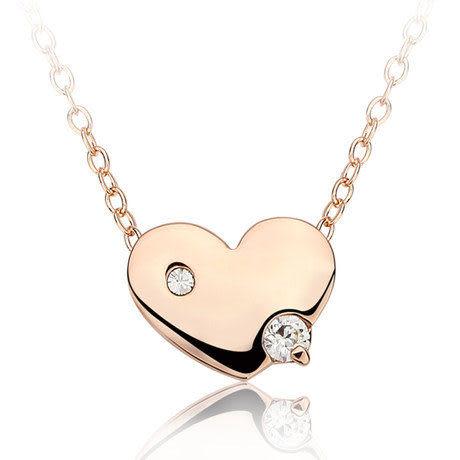 項鏈 女 時尚鑽石愛心玫瑰金彩金鎖骨鏈