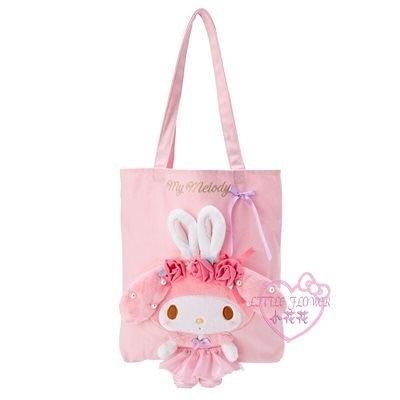 小花花日本精品美樂蒂 直式帆布側背袋玩偶側背袋帆布托特包書袋42186403