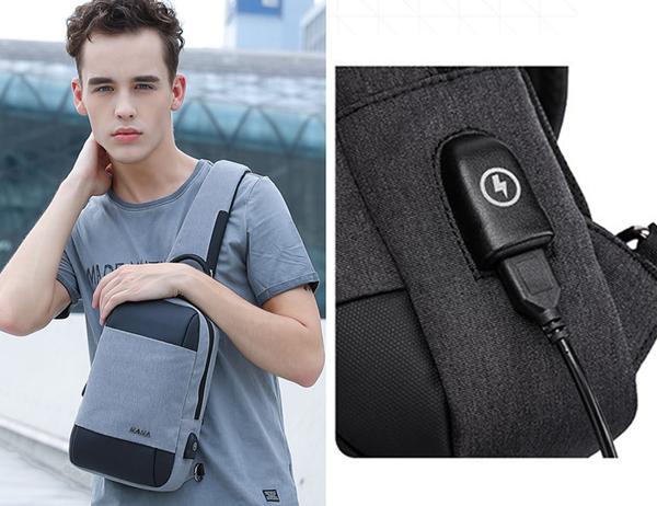 【男包】胸包 KAKA 男胸包 斜跨包 後背包 中帶雙色/黑灰拼
