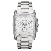 DKNY 耀眼新星三眼計時腕錶(鋼帶-銀)