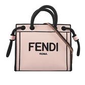 【FENDI】加州天空系列 Logo刺繡手提/斜背二用帆布包(Mini)(粉色) 8BH380 AEHV F1DB1