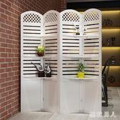 折屏簡約現代臥室屏風隔斷玄關時尚客廳雕花折疊置物架田園屏風TA6676【極致男人】