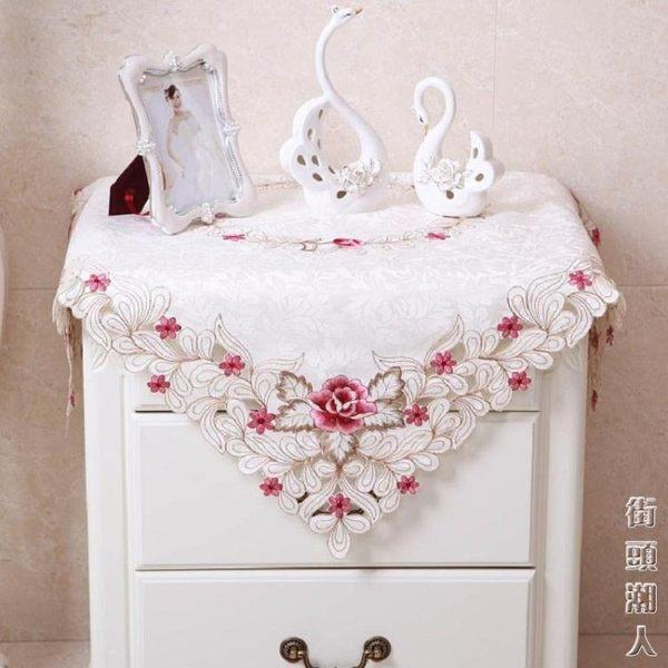 歐式田園布藝床頭櫃繡花防塵蓋布罩圓形五斗櫃蕾絲洗衣機蓋巾桌布 父親節禮物