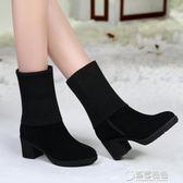 新款秋冬網紅粗跟雪地靴女中筒瘦瘦靴女中跟彈力靴針織毛線靴 草莓妞妞