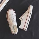 夏季薄款小白鞋女鞋2021年新款春秋單鞋魔術貼帆布鞋布鞋球鞋板鞋