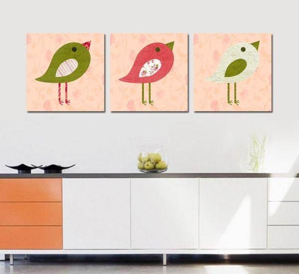 熱賣三聯畫 現代裝飾畫 版畫掛畫 無框畫壁畫 可愛小鳥
