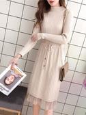 蕾絲拼接毛衣裙連身裙女春裝長袖過膝中長款拼接蕾絲裙針織打底衫秋冬毛衣裙 春季特賣