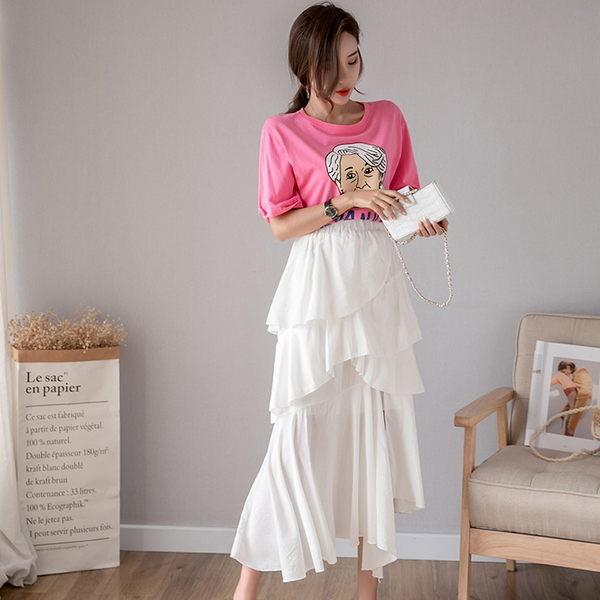 梨卡★現貨 - 2019超韓火辣顯瘦高腰蛋糕裙百褶裙長裙/2色BR236