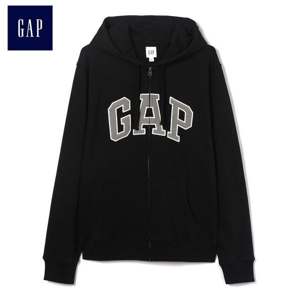 Gap男裝 Logo連帽舒適長袖休閒外套 443921-純正黑