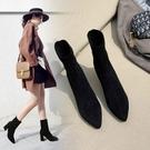 2019年秋冬季新款襪小短靴高跟女鞋馬丁...